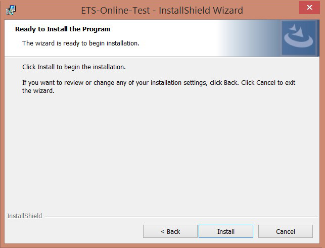 Image of the ETS-Online-Test InstallShield Wizard screen with Install button highlighted