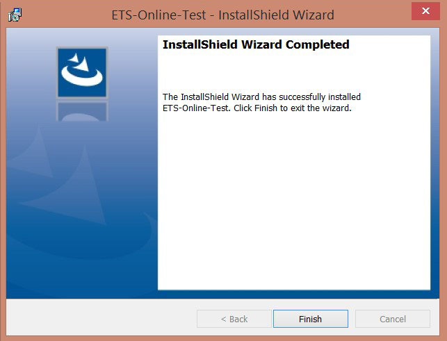 Image of the ETS-Online-Test InstallShield Wizard screen with Finish button highlighted.