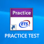 Computer desktop shown with GRE TEST icon.